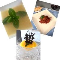 Menú - Caldo con hierbabuena, Conejo con Tomate, Sorbete de Naranja